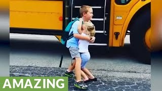 Little girl greets brother with hugs every single day after school