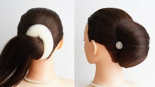 New French Bun Hairstyle With Donut French Roll Wedding Hairstyle Easy Bridal Hairstyle Tutorial
