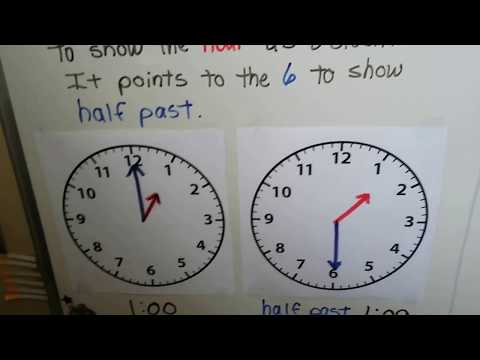 Grade 1 Math 9.8, Tell time to the hour & half-hour (minute hand)