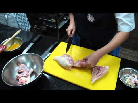 chef erika of global academy debones chicken