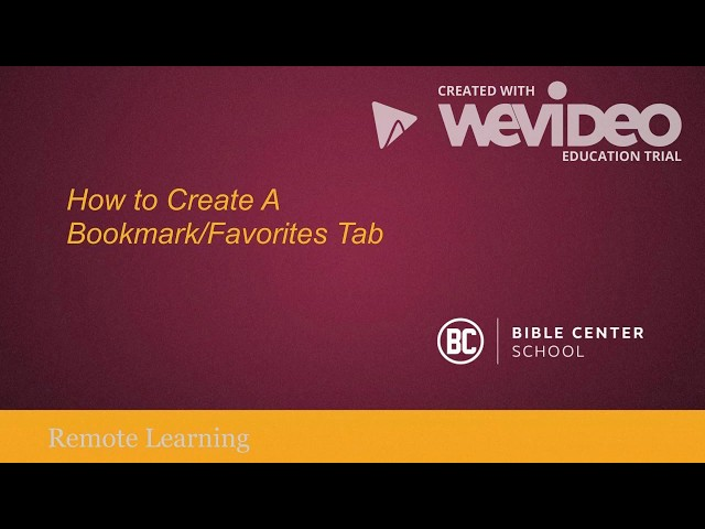Creating A Bookmark