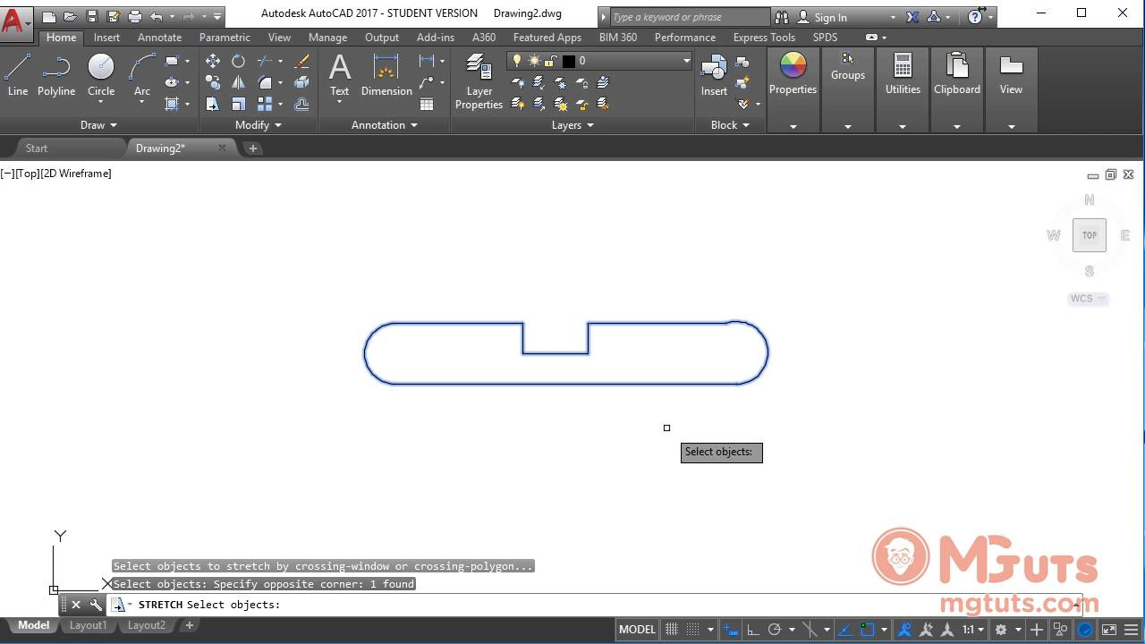 How AUTOCAD STRETCH tool works - Free AUTOCAD tutorials