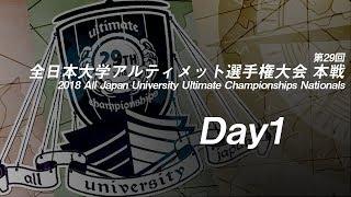 2018 All Japan University Ultimate Championships Nationals  第29回全日本大学アルティメット選手権大会 本戦(Day1 922)