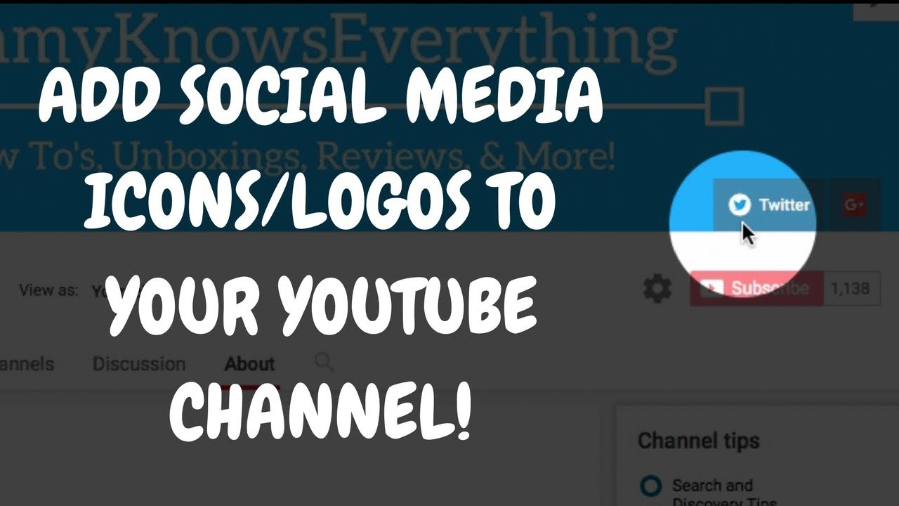 How To Add Social Media Icons Logos To Your Youtube Channel Banner 2017