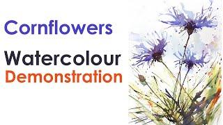 Corn Flowers Watercolour Demonstration