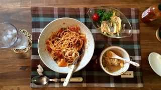 Tomato Sauce Spaghetti,baked French Onion Soup   チキンのトマトスパゲティとオニオングラタンスープ【today's Table】nov 4, 2014