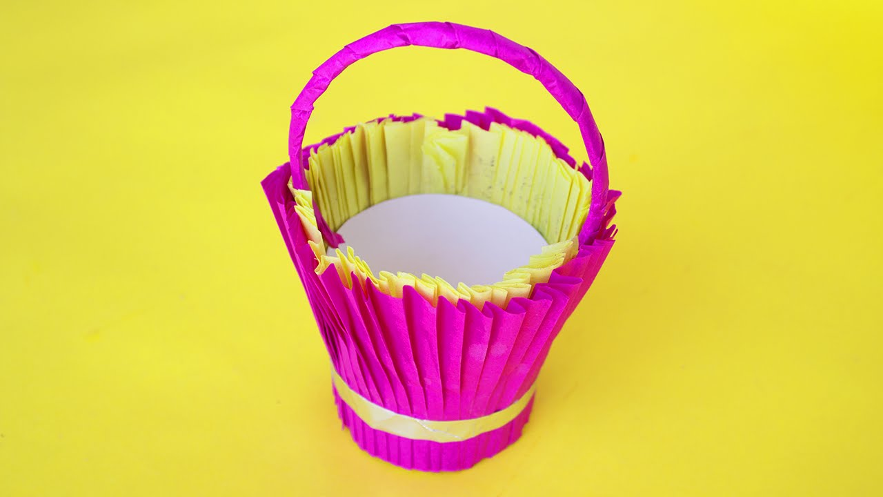 Diy Paper Bucket Paper Basket Craft Making For Home Decors And