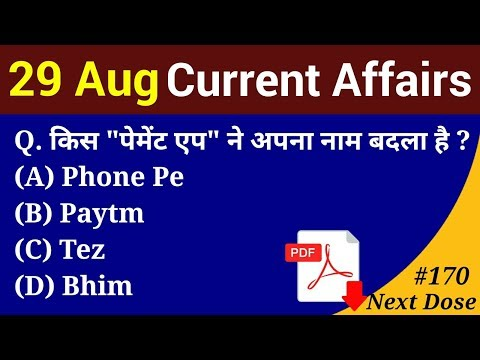 Next Dose #170 | 29 August 2018 Current Affairs | Daily Current Affairs | Current Affairs In Hindi
