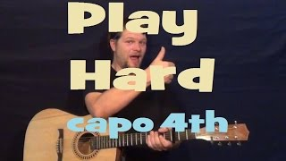 Play Hard (David Guetta ft. Ne-Yo & Akon) Guitar Lesson Easy Strum Licks Capo 4th Fret