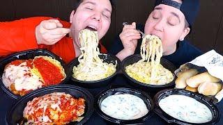 Creamy Fettuccine Alfredo Noodles & Cheesy Mozzarella Lasagna • Olive Garden • MUKBANG