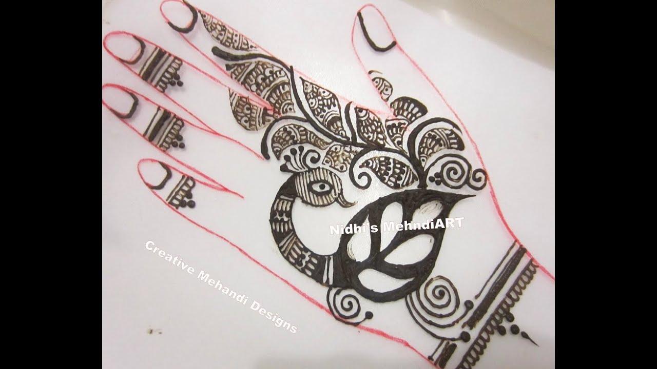 Mehndi Peacock Designs Drawings : Unique peacock henna mehndi design tutorial for back hand youtube