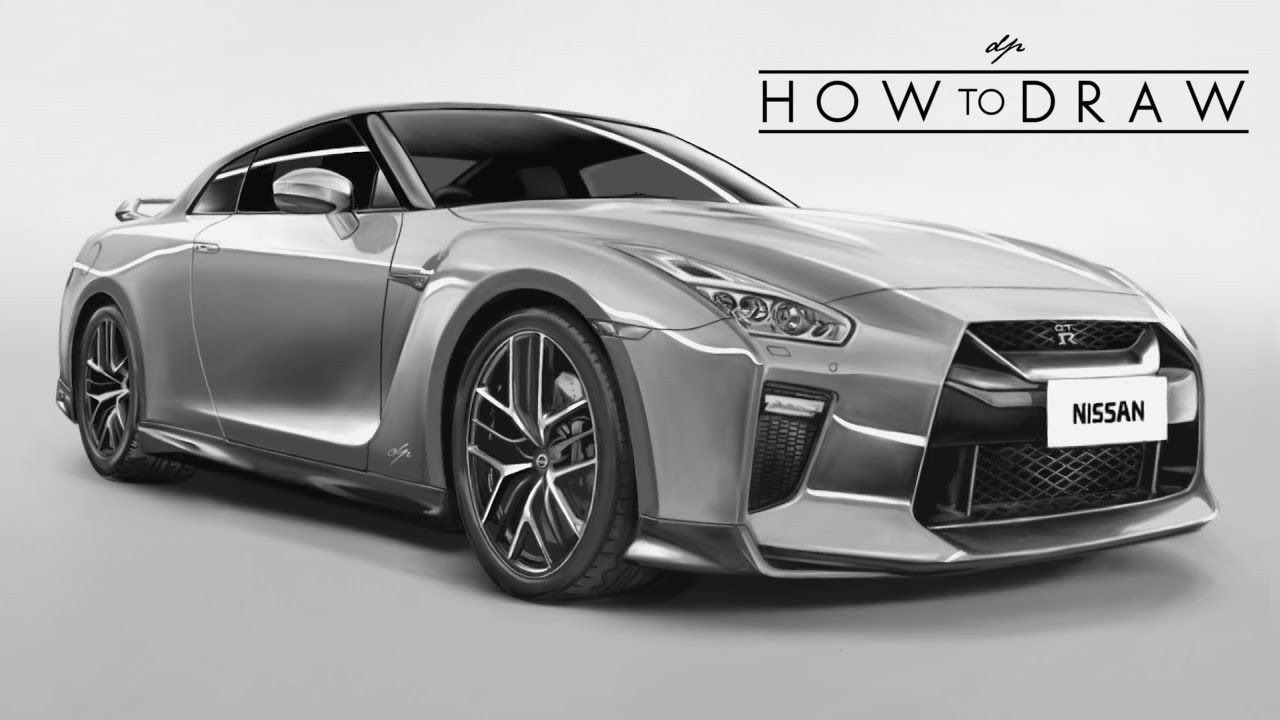HOW TO DRAW a 2017 Nissan R35 GTR - Step by Step ...