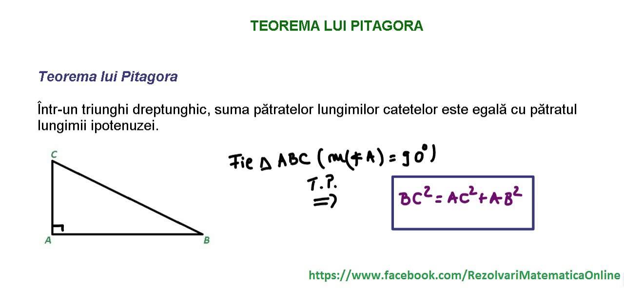 clasa a viia teorema lui pitagora reciproca teoremei