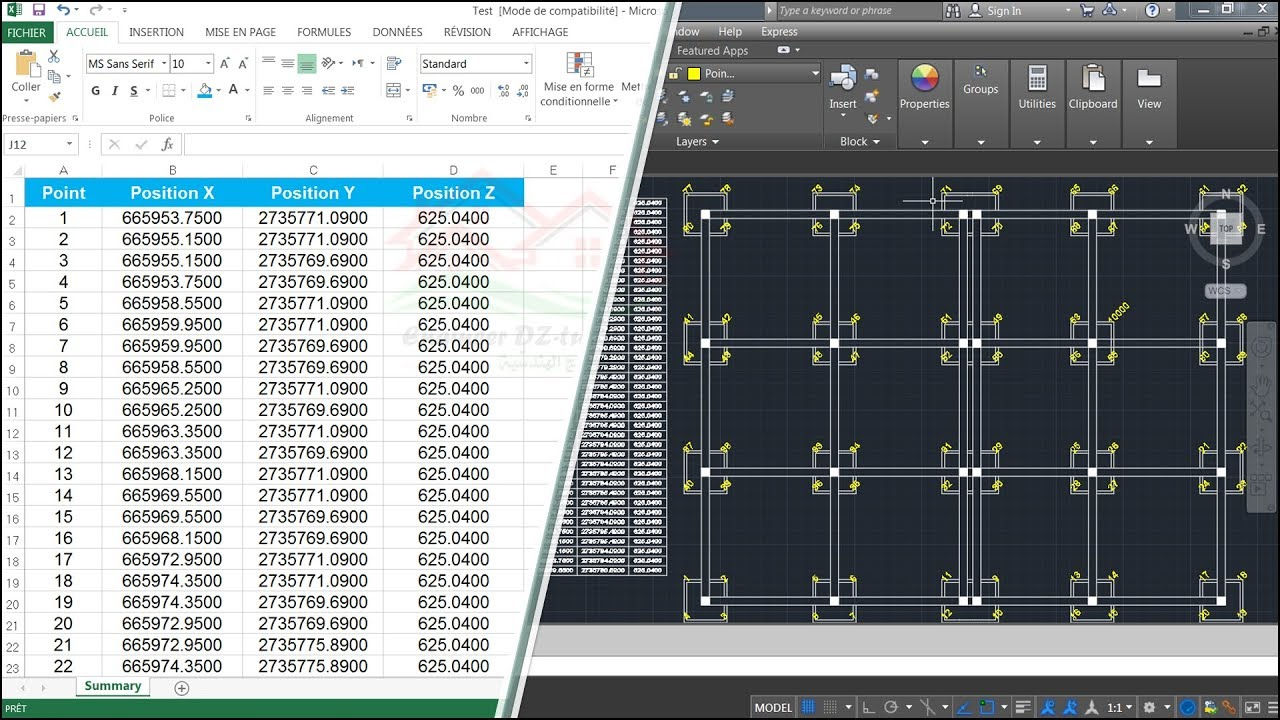 The right way to export Footings Coordinates from AutoCAD into Excel  without any lisps