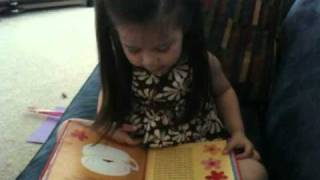 Phoebe reading a new Potty Book (Update Sound)