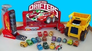 Watch Mack Launching 12 Micro Drifters Cars Using Super Speedway Launcher Colossus Disney Cars2