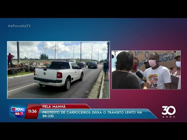 Projeto de carroceiros deixa trânsito lento na BR-230 - O Povo na TV