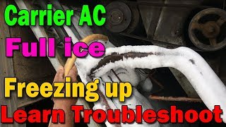 Carrier package ac cooling coil full ice freezing up why How many type troubleshooting learn