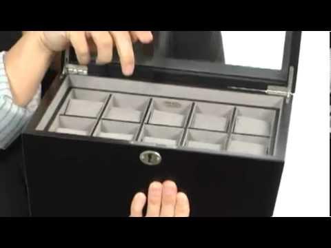 Mele - Royce Locking Glass Top Watch Box SKU:#7987045