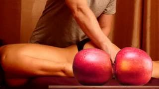 Erotic Massage of sexy  woman with  passionate like real sexual act apples motion