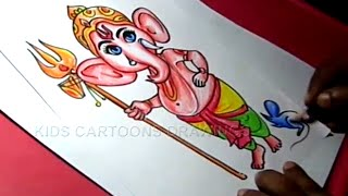 How to Draw Lord Bala / Child Ganesha Drawing for Kids Step by step