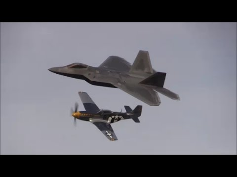 2016 NAS Patuxent River Air Expo - F-22 Raptor Demonstration & USAF Heritage Flight