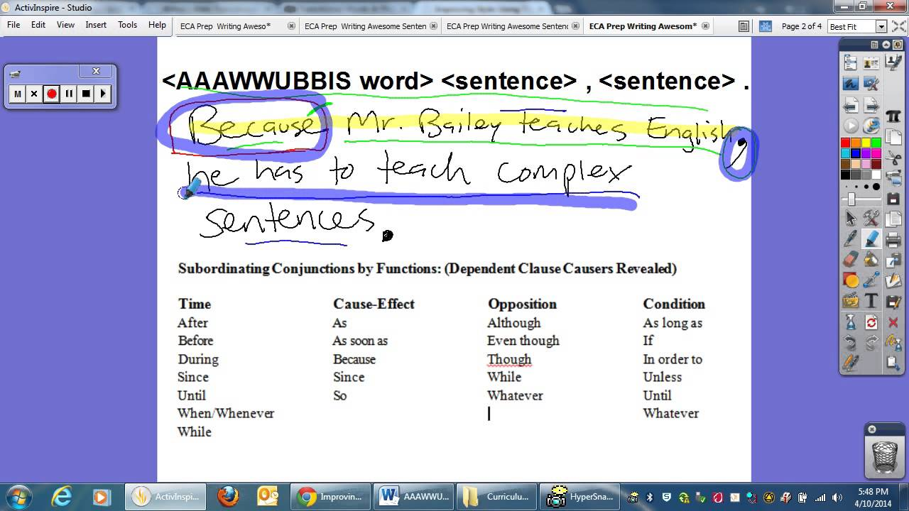 ECA Prep: Writing Awesome Sentences: AAAWWUBBIS - YouTube