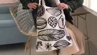kirahosi 빈티지 드로잉 나뭇잎 에코백 + 덧신 …