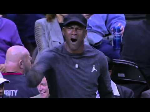Michael Jordan's reaction to LeBron James' dunk (03-02-2016, Cavs @ Hornets)