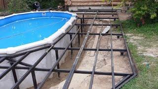 Заглубленный каркасный бассейн на даче своими руками из морозоустойчивой чаши!