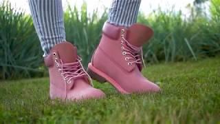 Видеообзор на осенние ботинки Timberland полностью розового цвета от Timberlandoutlet.ru
