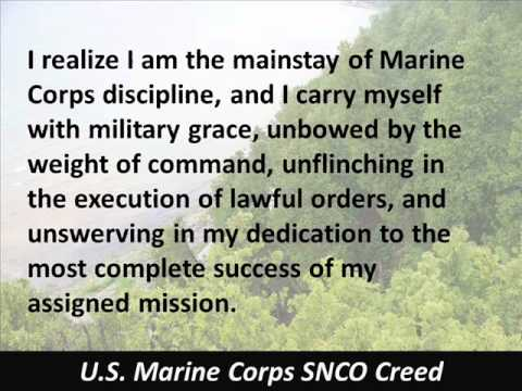 SNCO Creed - U.S. Marine Corps - Staff Noncommissioned Officer - Hear the Text
