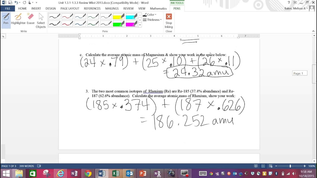 Answer Key Unit 2 3 1-2 3 3 Review Wkst