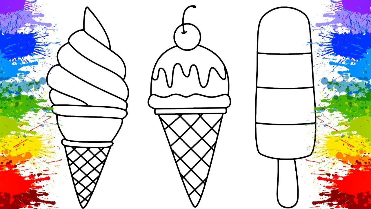 coloring ice cream fruits for kids learn colors colorindo sorvete de