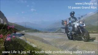 1 hour motorcycling through France, 28 mountain passes and valleys in the Alps