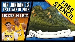 Air Jordan 12 CP3 Class of 2003 - Sneaker Drawing w/ FREE Stencil