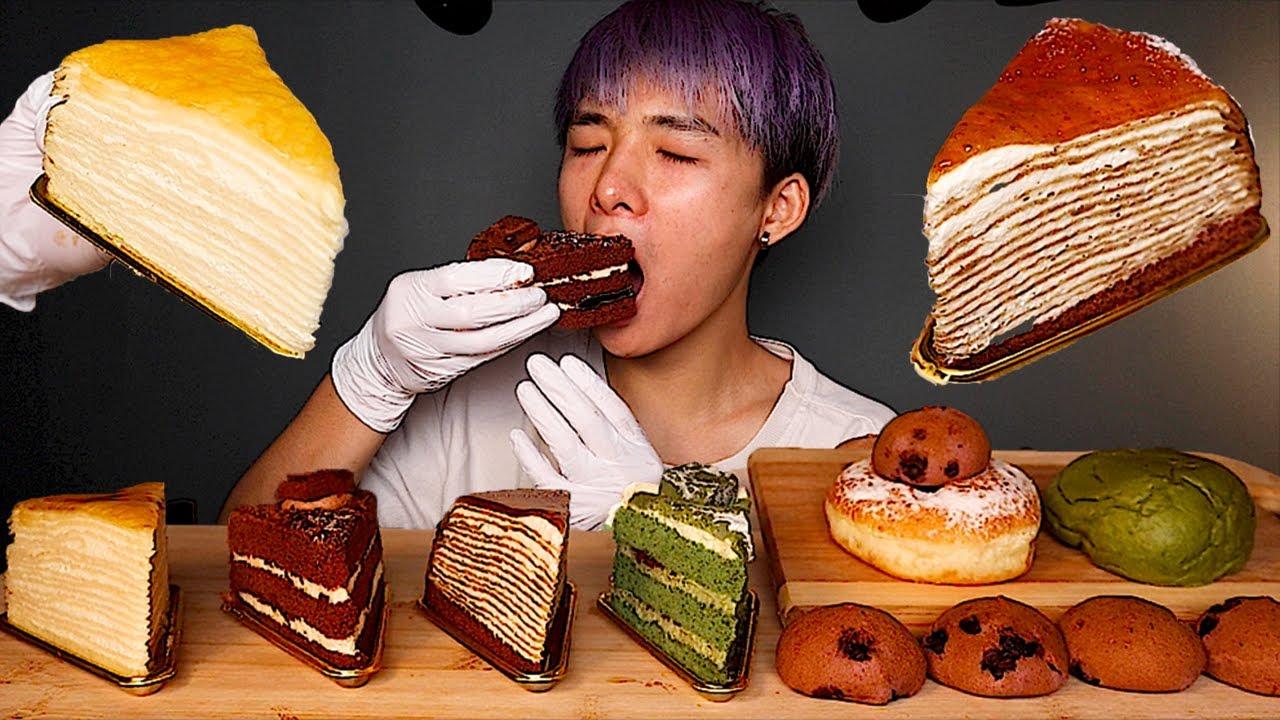 ASMR CREPE CAKES, CHOCOLATE CAKES, MOCHI, DONUTS, BREAD (Eating Sound) | MAR ASMR