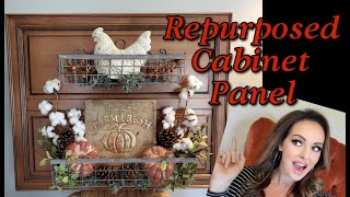 NEW! Repurposed Cabinet Panel into Wall Storage and Display!