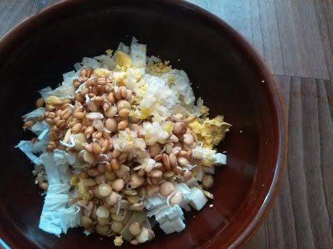 Салат из проросших зерен пшеницы и чечевицы