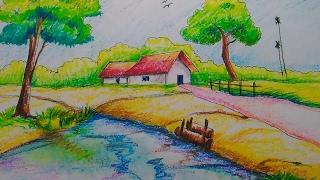 scenery village drawing easy oil pastel draw tutorial