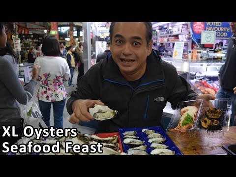 HUGE XL OYSTERS Fresh Seafood Feast At South Melbourne Market - Australian Food Tour