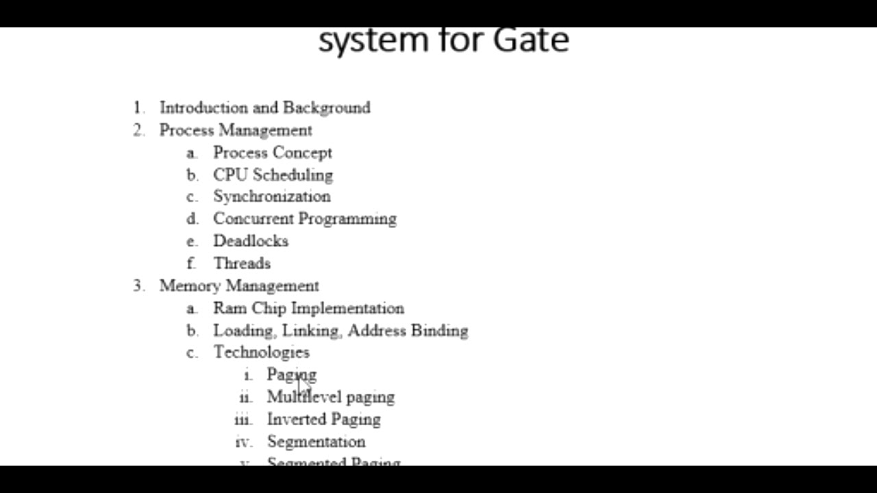 Syllabus of Operating System for GATE CSE