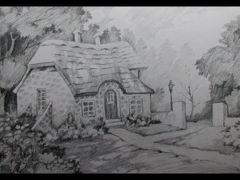 How to Draw A House Landscape with Pencil | Step by step