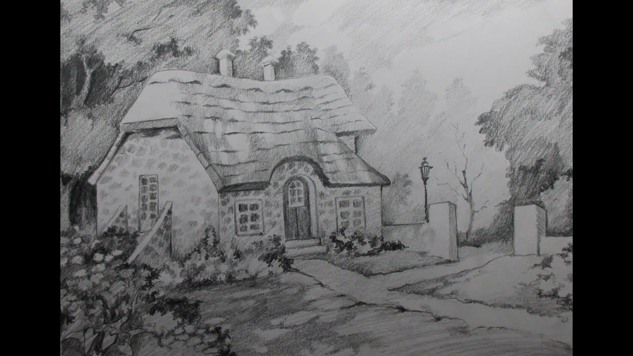 English Country Style How To Draw A House Landscape With Pencil Step By Step