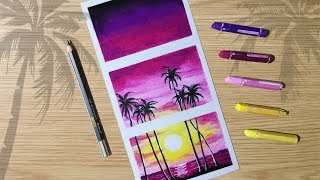 How to draw Palm tree Colorful Sunset Scenery with Oil Pastels for Beginner step by step
