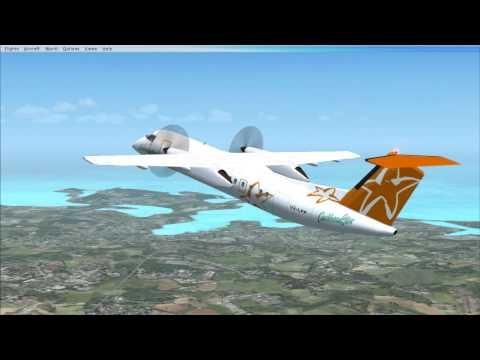 FSX Caribbean Star De Havilland Dash 8 flight from Antigua to Guadeloupe