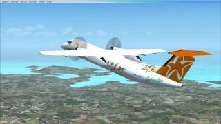FSX Caribbean Star De Havilland Dash 8 flight from Antigua to Guadeloupe
