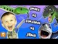 SHARK FIGHT! DINO vs SNAKES! Minecraft Toy FUN with HobbyBear of HobbyFamilyTV