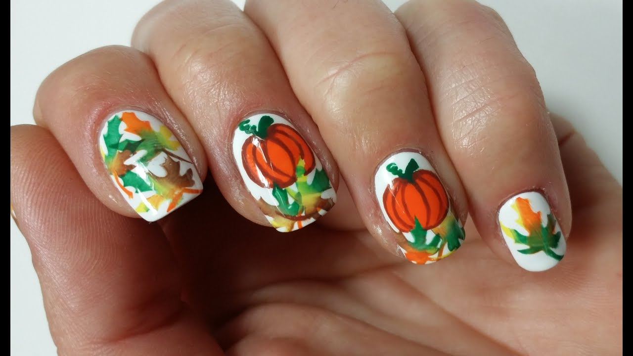 Easy Thanksgiving Pumpkin Nail Art Design Youtube