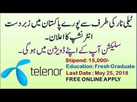 Telenor Announced Big Opportunity Internship All Pakistan 2018 | Free Online Apply